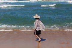 Woman Hat Beach Ocean Stock Photo