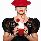 Woman in Hat drink cocktail Royalty Free Stock Photo