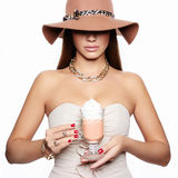 Woman in Hat drink coffee Royalty Free Stock Image