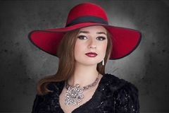 Woman, Hat, The Elegance, Jewelry Royalty Free Stock Image