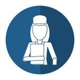 Woman hat employee holding folder shadow Stock Photo
