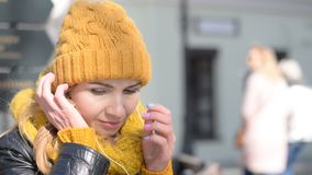 Woman in hat enjoying music. Hd stock footage stock video footage