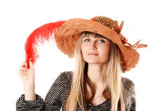 woman in   hat with feather Stock Image