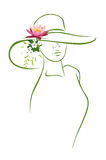 Woman with hat and flower. Woman siluete with hat and flower on white background Stock Photos