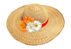 Woman hat with flowers isolated on white Stock Images