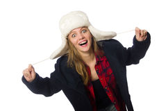 The woman with hat in funny concept Stock Images