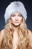 Woman at hat fur Stock Photography