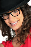Woman with hat and glasses Stock Photos