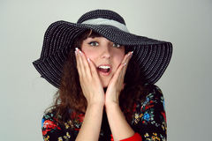 Woman in hat happy Stock Images