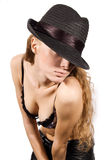 Woman with hat on her eyes Royalty Free Stock Photography