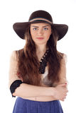 Woman in hat  isolated on a white Royalty Free Stock Photography