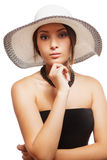 Woman in a hat isolated on white background Royalty Free Stock Images