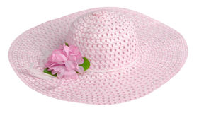 Woman  hat isolated on white background .Women`s beach hat . pi. Nk  hat Royalty Free Stock Photography