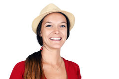 Woman with hat laughing. Natural young brunette woman laughing, fedora straw hat Stock Photography