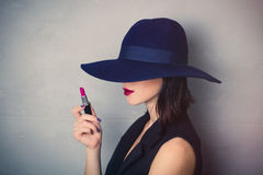 Woman in hat with lipstick Royalty Free Stock Photography