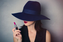 Woman in hat with lipstick Royalty Free Stock Photos