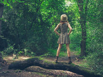 Woman with hat on log in forest Royalty Free Stock Images