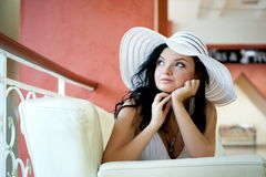 Woman in the hat royalty free stock image