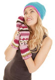 Woman hat mittens look up Royalty Free Stock Image