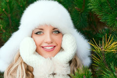 Woman in a hat, mittens, scarves, sweaters, fur in winter fir forest Stock Image
