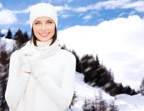 Woman in hat, muffler and gloves Stock Images