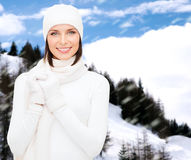 Woman in hat, muffler and gloves Stock Photo