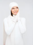 Woman in hat, muffler and gloves Stock Photos