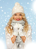 Woman in hat, muffler and gloves Stock Image