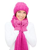 Woman in hat, muffler and mittens Royalty Free Stock Photography
