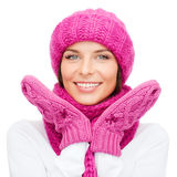Woman in hat, muffler and mittens Stock Photography
