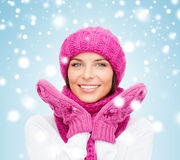 Woman in hat, muffler and mittens Royalty Free Stock Images