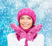 Woman in hat, muffler and mittens Stock Photos