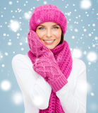 Woman in hat, muffler and mittens Royalty Free Stock Photo