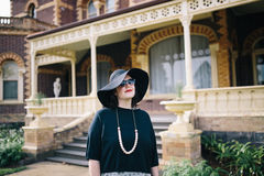Woman in hat outdoors Royalty Free Stock Photo