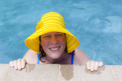 Woman Hat Pool Summer Stock Images