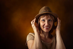 Woman in hat Stock Photos