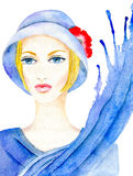 Woman in hat. Portrait of a woman in a blue hat with a scarf, splashes and stains isolated on white background, hand-painted watercolor illustration and paper Stock Photo