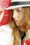 Woman with hat profile Stock Photography