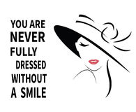 Woman in hat with quote. Stock Photo