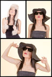 Woman in hat retro portrait set. Stock Photos