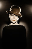 Woman in hat retro vintage portrait Royalty Free Stock Photo