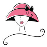 Woman in a Hat with Ribbon Royalty Free Stock Photo