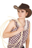 Woman hat rope plaid shirt look side Royalty Free Stock Images