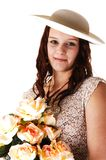 Woman with hat and roses. Stock Images