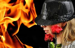 Woman, Hat, Roses, Fire And Flame Stock Photos