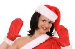Woman in hat santa Stock Image