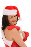Woman in hat santa Royalty Free Stock Images