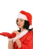 Woman in hat santa Stock Photos