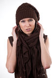 Woman in hat and scarf Royalty Free Stock Images