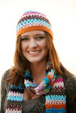 Woman With Hat And Scarf Stock Photography